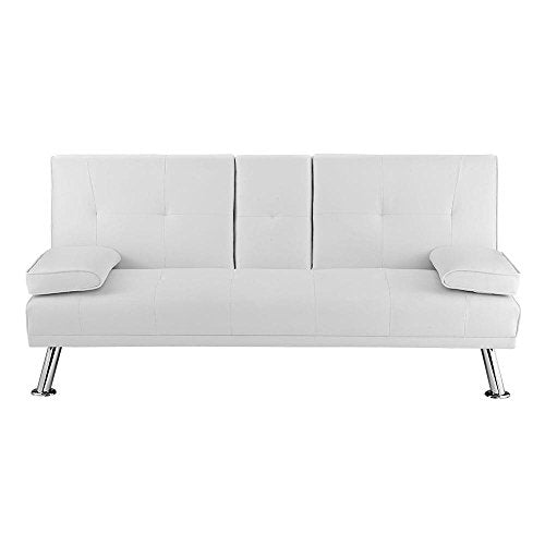 Naomi Home Futon Sofa with Armrest and Cupholders White