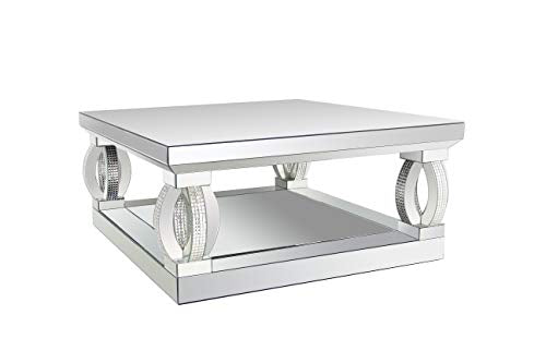Coaster Home Furnishings Avonlea Square Lower Shelf Clear Mirror Coffee Table, Silver