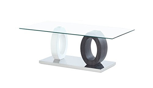 Global Furniture USA Dual Oval Base Style Cocktail Table, BR/Grey