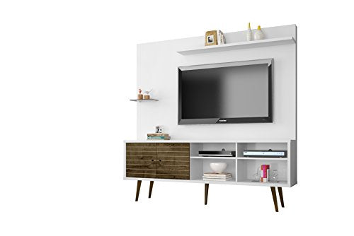 Manhattan Comfort Liberty Complete Living Room Entertainment Center And T Stand, White/Rustic Brown