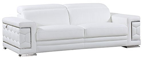 Blackjack Furniture The Usry Collection Italian Leather Upholstered Living Room, Sofa, White