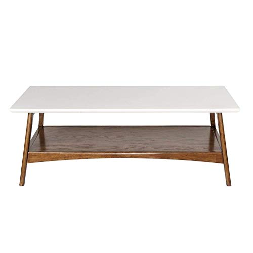 Madison Park Parker Coffee Tables - Solid Wood, Two-Tone Finish with Lower Storage Shelf Modern Mid-Century Accent Living Room Furniture, Medium, White/Pecan