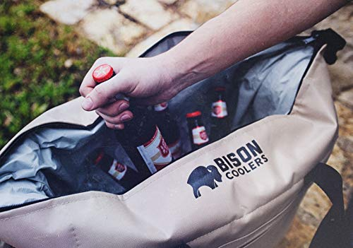 BISON COOLERS Soft Sided Insulated 12 Can Cooler Bag | Leak Proof Ice Chest for Beverages or Food | Includes 2 Year Warranty | Made in The USA