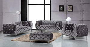 "Meridian Furniture Mercer Collection Modern | Contemporary Low Back, Velvet Upholstered Loveseat with Deep Button Tufting, and Custom Chrome Legs, Grey, 72"" W x 35"" D x 28.5"" H"