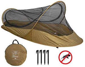 Bivy Tent Sleeping Net System for Outdoors, Camping, Home and Flying Insect Protection (Dark Earth)