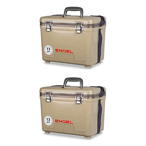 ENGEL 13 Quart Lightweight Fishing Dry Box Cooler with Shoulder Strap (2 Pack)