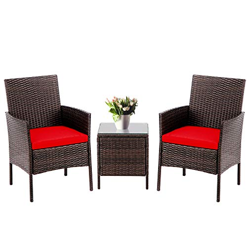 SUNCROWN 3-Piece Patio Bistro Outdoor Furniture Set, All-Weather Brown Wicker and Glass Side Table, Red Cushion