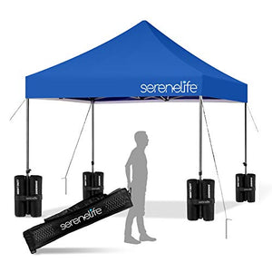 Pop Up Canopy Tent 10x10 - Commercial Instant Shelter Foldable/Collapsible Sun Shade Canopy Pop Up Tent w/Waterproof UV Resistant Top, Portable Carry Bag & Sand Bag - SereneLife SLGZ10BU (Navy Blue)