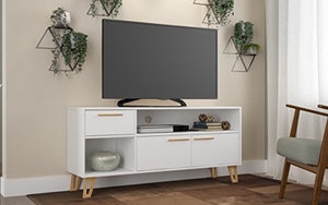 Manhattan Comfort Doris Mid-Century Modern Living Room TV Stand, White