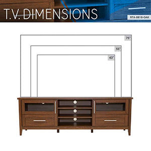 "Techni Mobili Modern Storage Stand for TVs Up to 75"", 71"" W x 15.75"" D x 24"" H, Oak"