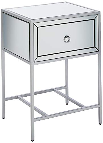 Christopher Knight Home Inka Mirrored One-Drawer Side Table, Clear / Silver / Mirror