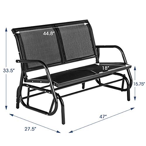 Esright 2 Seats Outdoor Swing Glider Loveseat Chair with Powder Coated Steel Frame, Garden Rocking Seating, Patio Bench for 2 Person, Black