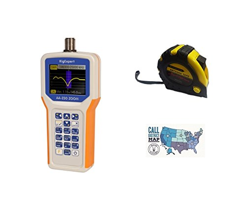 Bundle - 3 Items - Includes RigExpert AA-230 Zoom Antenna Analyzer 100kHz up to 230MHz with The New Radiowavz Antenna Tape (2m - 30m) and HAM Guides Quick Reference Card