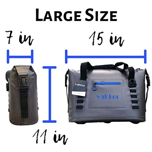 VAKKER Large Portable Soft Cooler - 3 Layers Thermal Insulated Bag, Leak-Proof HydroLok Zipper, Two Way Carry with Sided Shoulder Strap, for Beach Travel Outdoor Camping Picnic Off-Road