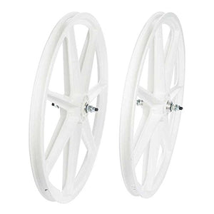 SKYWAY, Tuff Retro 7 Spoke, Wheelset, White, 24'' / 507, Bolt-on, F: 100, R: 110, Rim, Freewheel, White