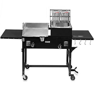Barton 58,000 BTU Outdoor Gas Propane Double Burner Stove Cook Station Flat Top Griddle and Deep Fryer BBQ Grill Camp Side Table