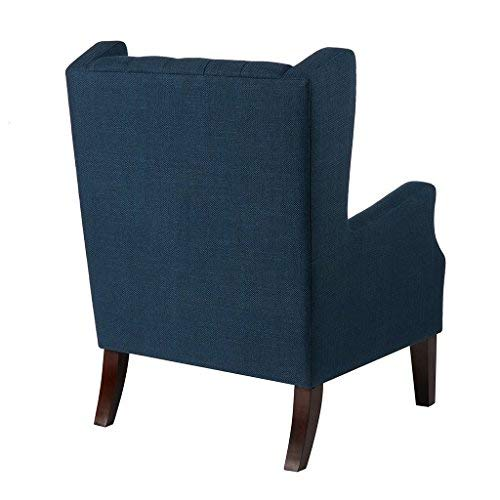Madison Park Maxwell Accent Chairs-Hardwood, Faux Linen Deep Seat-Bedroom Lounge Modern Classic Elegant Button Tufted High Back Style Living Room Sofa Furniture, Navy