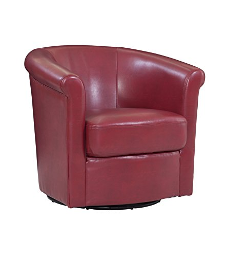 Grafton Home Madison Faux Leather Swivel Barrel Accent Chair, One, Red