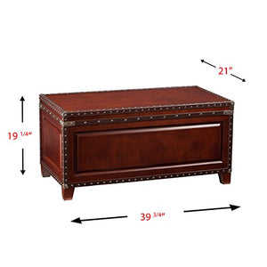 SEI Furniture Amherst Trunk Faux Leather & Nailhead Trim, Coffee Table, Dark Cherry/Espresso/Antique Bronze