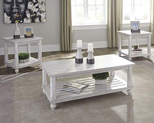 Signature Design by Ashley - Cloudhurst Contemporary 3-Piece Table Set - Includes Cocktail Table & Two End Tables, White Wash Wood
