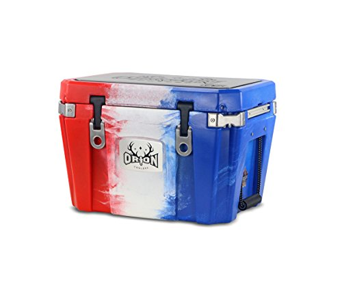 Orion Heavy Duty Premium Cooler (35 Quart, Red-White-Blue), Durable Insulated Outdoor Ice Chest for Maximum Cold Retention - Portable, Bear Resistant, and Long Lasting