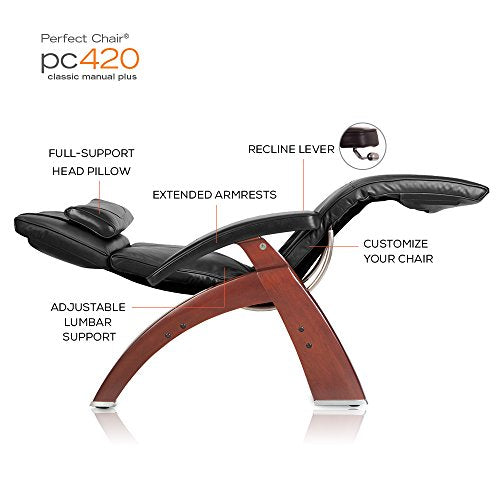 "Human Touch Perfect Chair ""PC-420"" Premium Full Grain Leather Hand-Crafted Zero-Gravity Walnut Manual Recliner, Cognac"