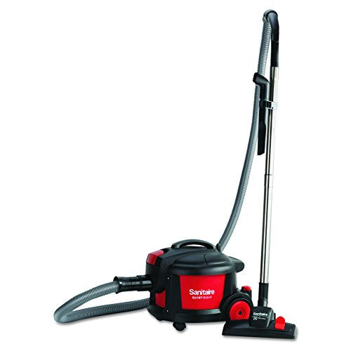 "Sanitaire SC3700A Quiet Clean Canister Vacuum, Red/Black, 9.0 Amp, 11"" Cleaning Path"