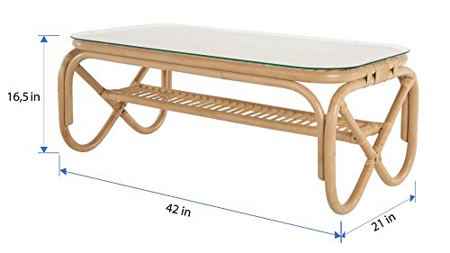 Kouboo Rattan Coffee Table, Natural