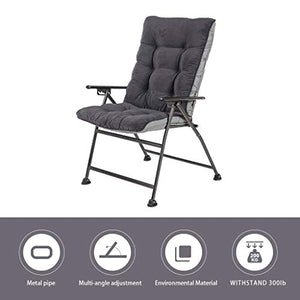 Sunon Folding Camping Chair, Adjustable 5-Position Reclining Mesh Back Lounge Chair with Detachable Cotton Pad for Outdoor,Lawn,Garden and Home, Support 300 lbs (Dark Grey, 30.7x26.7x42.5 inch)