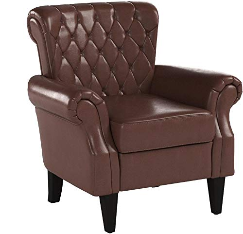 Christopher Knight Home Franklin Tufted Bonded Leather Club Chair, Brown