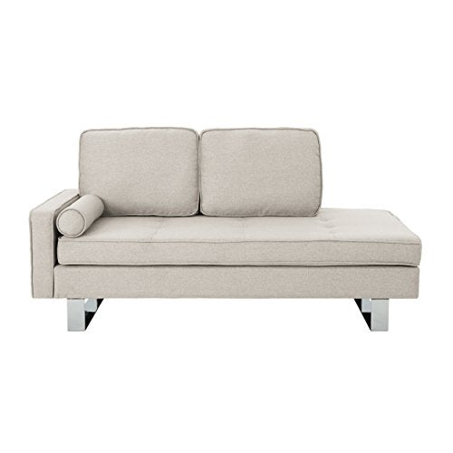 Christopher Knight Home Phelps Modern Fabric Chaise Loveseat, Beige, Silver