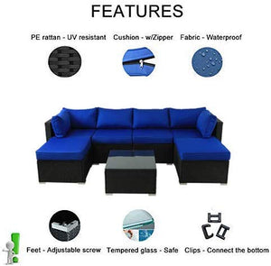Outdoor Black Rattan Sofa Patio Furniture Garden Couch Sectional Set Conversation Sofa Sets Outside Sofa Royal Blue Cushions 7 Pcs