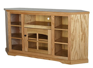 "Eagle Oak Ridge Thin Corner Entertainment Console with Bookcase Sides, 63"", Light Oak Finish"