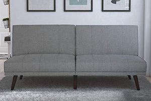 DHP Lone Pine Linen Upholstered Futon, Multi-Position and Split-Back Design, Grey