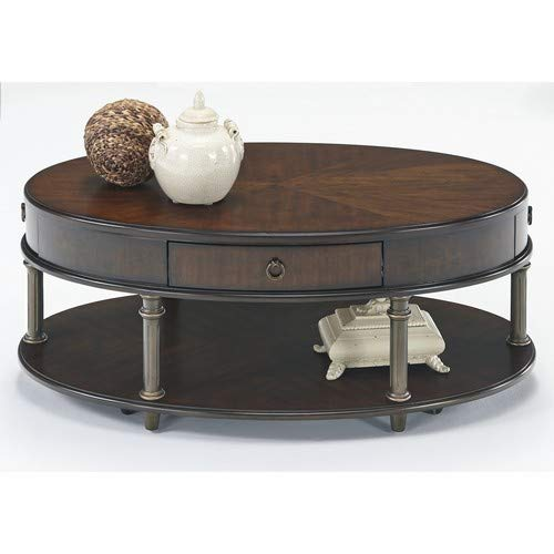 Progressive Furniture Court Castered Oval Cocktail Table, Regent Cherry