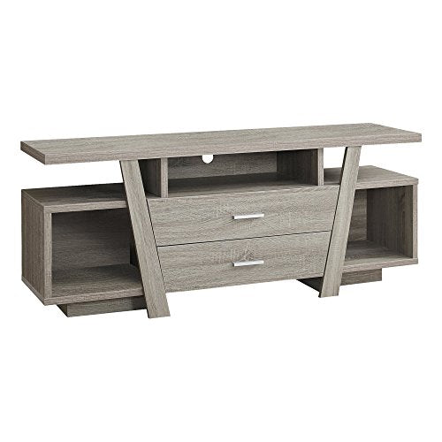 Monarch Specialties Dark Taupe with 2 Storage Drawers TV Stand, 60