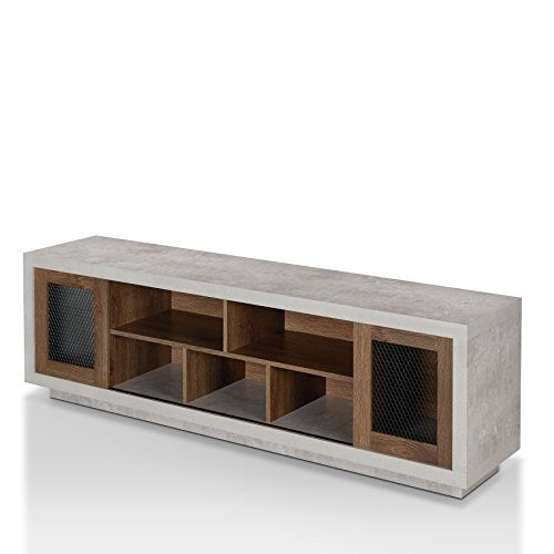 "ioHOMES Vaike Industrial Sliding Door, Multiple Open Shelves TV Stand, 70"", Distressed Walnut"