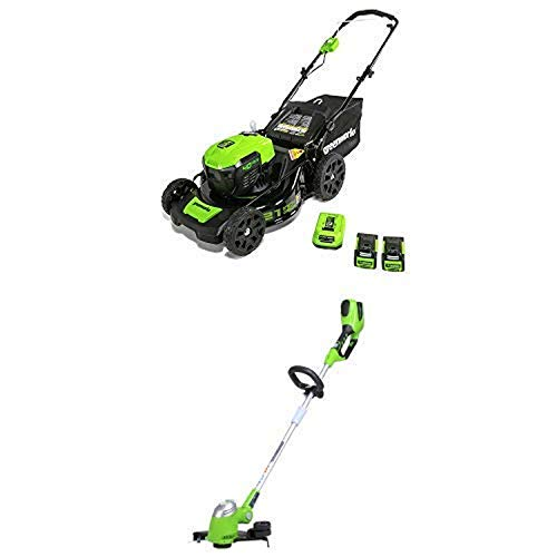 Greenworks 21-Inch 40V Brushless Cordless Mower with 13-Inch 40V Cordless String trimmer/Edger Battery Not Included 21332