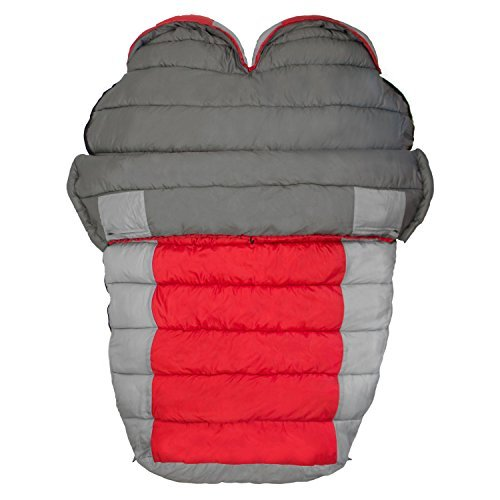 Winterial Double Mummy Sleeping Bag for Camping, Backpacking and Hiking, Cold Weather 2 Person Double Sleeping Bag Queen Size Waterproof Sleeping Bag for Adults, Teens, Red