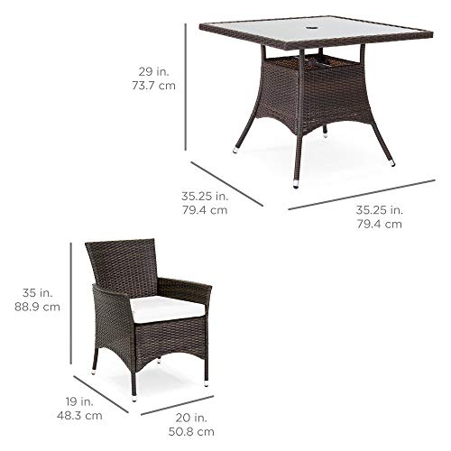 Best Choice Products 5-Piece Indoor Outdoor Wicker Patio Dining Table Furniture Set w/Umbrella Cutout, 4 Chairs - Cream