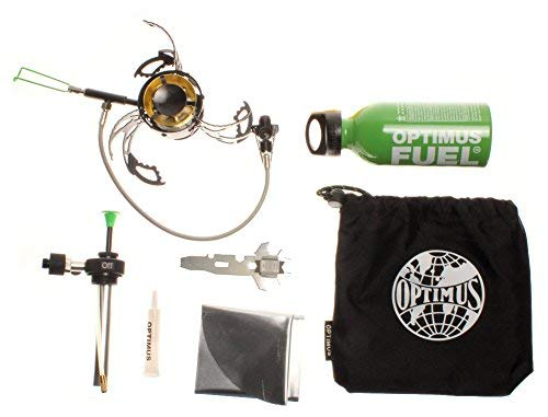 Optimus Polaris Optifuel Stove, with 0.4L Fuel Bottle, multifuel Burner for Both Liquid & LPG Canister Fuel Types, for Camping, Backpacking and Emergency Preparedness