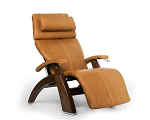 Perfect Chair Human Touch PC-420 Classic Manual Plus Series 2 Walnut Wood Base Zero-Gravity Recliner - Sycamore Premium Leather - in-Home White Glove Delivery