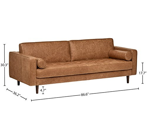 "Amazon Brand �Rivet Aiden Tufted Mid-Century Modern Leather Bench Seat Sofa, 86.6"" W, Cognac"