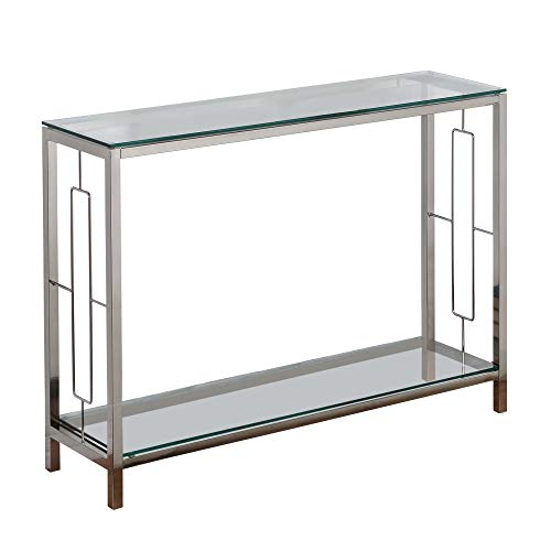 Dolce Contemporary Metal & Glass Console Table in Chrome