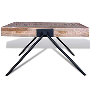 Festnight Square Coffee Side Table Solid Reclaimed Teak Wood Handmade for Home Office Living Room Furniture Decor