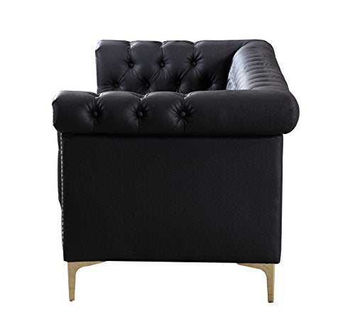 Iconic Home Winston Modern Tufted Gold Nail Head Trim Black PU Leather Sofa with Gold Tone Metal Y-Legs