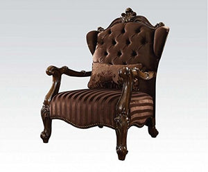 ACME Versailles Brown Velvet Chair with 1 Pillow