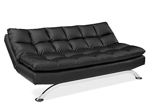 Pearington Bella Leather Lay-Flat Futon Sofa Bed Black
