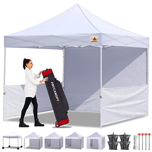ABCCANOPY 10x10 Pop-up Canopy Easy Pop Up Canopy Tent 10x10 Commercial Tents with Sidewalls Bouns Roller Bag Bonus 2pcs Half Wall (White)