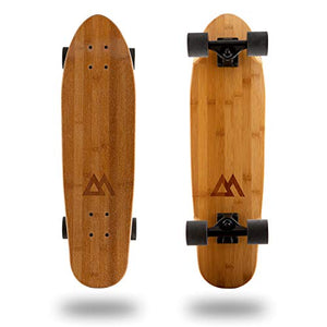 Magneto Mini Cruiser Skateboard Cruiser | Short Board | Canadian Maple Deck - Designed for Kids, Teens and Adults �(Bamboo)